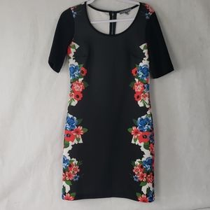 NY COLLECTION black floral scuba material dress S